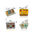 vintage radio set sketch for your design vector image