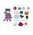 winter set cute cartoon kitty and cozy things vector image