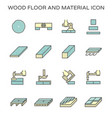 wood floor material and construction tool icon vector image