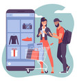 young man and woman are shopping online using vector image vector image