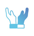 line human hands up with fingers vector image