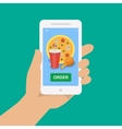 Hand holding smartphone with pizza cola chicken vector image