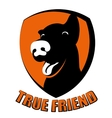 Dog true friend silhouette logo vector image
