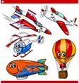 funny cartoon aircraft vehicles set vector image