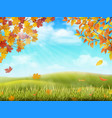 autumn rural landscape with tree branches vector image