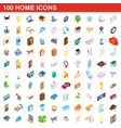 100 home icons set isometric 3d style vector image vector image