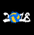 abstract number 2018 and volleyball vector image vector image