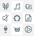 audio icons line style set with tambourine drum vector image