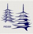 ballpoint pen pagoda sketch vector image vector image