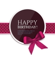 Birthday card with ribbon and birthday text vector image vector image