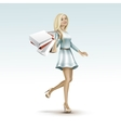 blonde woman girl in dress with shopping bags vector image vector image