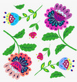 bright cartoon flowers on white vector image vector image