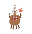 Bromn Many-eyed Friendly Monster With Flag vector image vector image