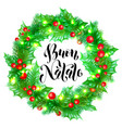 buon natale italian merry christmas holiday hand vector image vector image