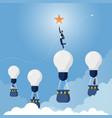 businessman reaches star-achieving goal vector image