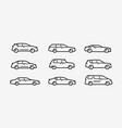 cars icon set transport transportation symbol vector image
