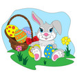 cartoon easter bunny with egg basket vector image vector image