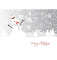 Christmas card design with funny snowman vector image vector image