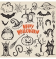 collection sketch halloween characters vector image