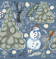 colorful winter pattern with snowman vector image vector image