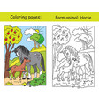 coloring and color for children horse vector image vector image