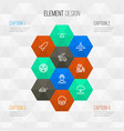 combat outline icons set collection of military vector image vector image
