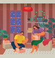 couple make out boxes in living room new house vector image