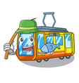 fishing electric train toys in shape mascot vector image vector image