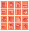 furniture icons set flat with long shadow on vector image
