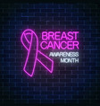glowing neon sign of breast canser awareness vector image vector image
