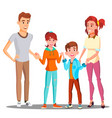 happy child holding hands with parents vector image vector image