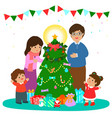 happy family decorate christmas tree art vector image