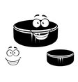 Happy smiling hockey puck vector image vector image