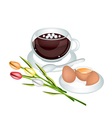 Hot Coffee with Fresh Eggs and Flower vector image vector image