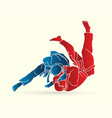 judo sport action cartoon graphic vector image