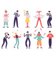 mimes and clowns circus and street artists vector image vector image