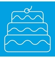 New birthday cake thin line icon vector image vector image