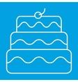 New birthday cake thin line icon vector image
