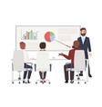 office workers at whiteboard meeting bearded man vector image