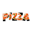 pizza in text vector image vector image