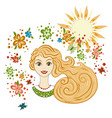 portrait of a beautiful girl summer theme vector image