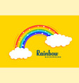 rainbow with clouds on yellow background vector image