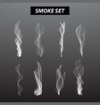 Realistic smoke design Set black background vector image vector image