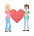 romantic couple holding big love heart vector image