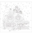 Santa with gifts on a rooftop vector image vector image