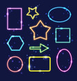 set colorful neon frames with space for text vector image