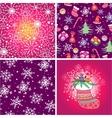 set four christmas seamless pattern vector image