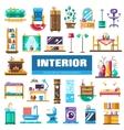 set modern flat design interior icons vector image