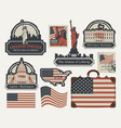 set of american symbols and landmarks vector image vector image
