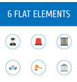 set of crime icons flat style symbols with cop car vector image vector image